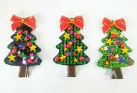 "100 BLESSING Good Girl 2.75/"" Hair Clip Spangle Christmas Tree Flash Wholesale"