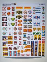 Garage forecourt / petrol station period signs 00 gauge 4mm scale, buses, racing