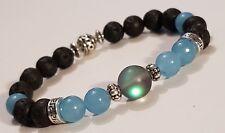 Grey Moonstone, Aquamarine Lava Stone Essential Oil Diffuser bead Bracelet