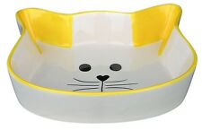 Yellow Cat Face Ceramic Bowl Feeding Drinking Bowl Cat Kitten 12cm x 5cm 0.25ltr
