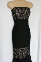 new LIPSY BNWT black nude lace overlay bandage Fishtail scuba maxi dress size 10