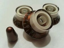 3 Guitar top hat volume/tone knobs & switch tip. Metallic Copper/Cream.      JAT