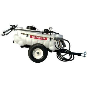 Dripless Tow Behind Sprayer Adjustable Tip Rolling Tank HDPE 15 Gal 12 Volt