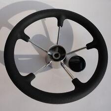 """5 Spoke 13.5"""" Stainless Steel Boat Marine Steering Wheel With Black PU Foam Grip"""