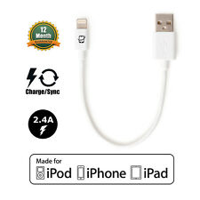 [Apple MFI Certified] CreatePros Lightning USB Cable White (Short Length 7.5in)