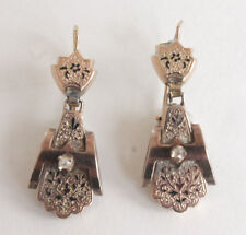 Antique Victorian Diamond & Taille d' Epargne 12k Rose Gold Earrings