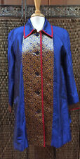 Koos of Course QVC Jacket Womens Size Medium Silk Light Weight Blue Gold Red