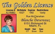 Rue McClanahan of The Golden Girls tv show Blanche fake Id card Drivers License