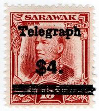 (I.B) Sarawak Telegraphs : Overprint $4 on 15c OP