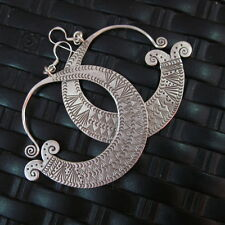 Silver Earrings Hill Tribe Handcraft Ethnic Curved with Spiral Bohemien er043