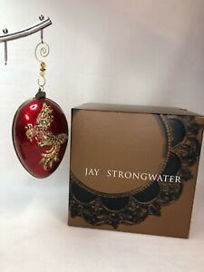 2002 Jay Strongwater Large Red & Gold PHOENIX Egg Ornament Swarovski Crystals