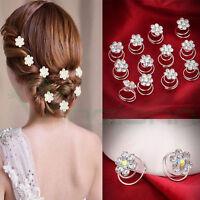 12 forcine spirale fermaglio capelli strass acconciatura sposa matrimonio nozze