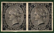 GB QV PROOF Stamp TENDER ESSAYS 1d Black Imper' Pair (1879) Perkins Bacon RED2