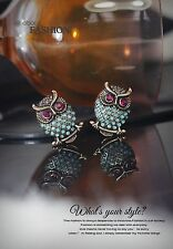 Costume Fashion Clips on Earrings Gold Studs Cute Bird OWL Blue Crystal Gift J2