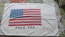 "Ralph Lauren Pair Vintage White  ""Polo USA"" Flag Standard Pillow Cases."