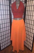 👀Beautiful Orange Flowy Maxi Hi Lo Skirt w Attached Short NEW