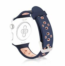 42mm Replacement Strap Wristband Apple Watch Sport Silicone Band Navy+Pink New