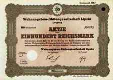 Wohnungsbau AG Lipsia 1941 Leipzig Sachsen Holzhausen Fritz Eckert 100 Reichsmar