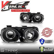 98-01 Integra Headlights JDM Halo Projectors Black Housing Lamps - PAIR
