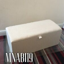 CREAM CHENILLE 36INCH LARGE OTTOMAN STORAGE BOX TRUNK UPHOLSTERED TOYS NEW 3FT