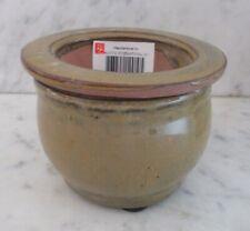 "Round Self Watering Ceramic African Violet Pot Khaki 3 3/4"" x 2 1/2"" Nwot"