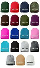 WEST COAST Old English Embroidered Cap Hip Hop Beanie Cuffed - Multiple Colors