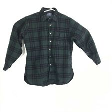 Vintage Pendleton Womens Large Green Plaid Flannel Button Up Virgin Wool Shirt