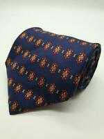 MENS TIE RACK NAVY BLUE YELLOW RED ORANGE ABSTRACT DIAMOND PATTERN 100% SILK TIE