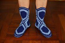 "Blue Women Handmade crochet Booties Slippers beautiful homemade boots Socks 9""in"