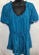Anthropology Lie Women's Short Sleeve Blue Pretty Blouse 100% Silk Size 10