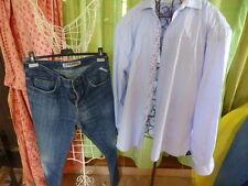 lot 42belle chemiseHOMME petitscarreaux  BLEUS  et PANTALON  jean CREEKS