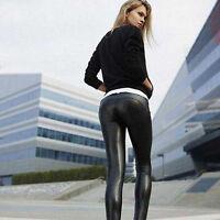 Damen Kunstleder High Waist Leggings Hosen Strumpfhosen Sexy Treggings Leggings
