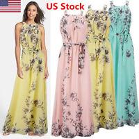 Women Summer Boho Long Maxi Dress Evening Party Beach Dresses Chiffon Dress USA