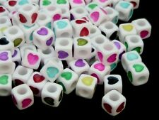 100 Pcs  7mm White Cube Heart Spacer Beads Mixed Colour Hearts Kids Beading O182