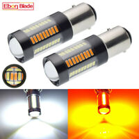 2 X 1157 BAY15D White/Amber Dual Color LED Bulb Switchback DRL Turn Signal Light