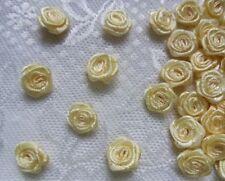 "3/8"" (W) Ivory Satin Polyester Mini Ribbon Rose Flower Craft-100 Pcs-R0030I"