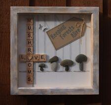 Scatola profonda in legno naturale telaio-Unique, Pebble arte: l'AMORE funghi.