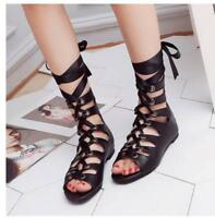Womens Punk Flats Casual Sandals Roman Open Toe Lace Up High Top Gladiator Shoes