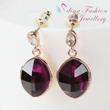 18K Rose Gold Plated AAA Grade Cubic Zirconia Oval Cut Amethyst Stud Earrings