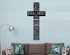 Cross Names Of Jesus Christian Decor Vinyl Wall Decal Lettering Words Religious