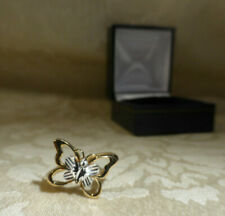 9ct Yellow Gold & 9ct White Gold Butterfly Insect Ring UK Hallmark Sheffield Box