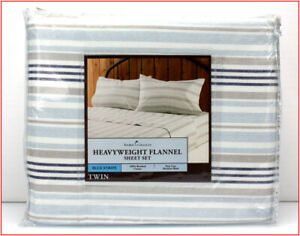 Home Classics Heavy Weight 100% Cotton FLANNEL Sheet Set -Blue White Stripe TWIN