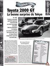 VOITURE TOYOTA 2000 GT FICHE TECHNIQUE AUTOMOBILE 1966 COLLECTION CAR FRANCE