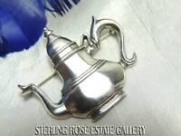 "VINTAGE HAND & HAMMER DeMatteo Sterling Silver 925 Estate 1 1/2"" TEA POT BROACH"