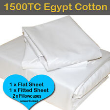 Double-Egyptian Cotton White 1500TC Fitted Flat Pillowcases Sheet Set-RRP $565