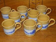 Set Of 8 Yelloware Stoneware Cups - Sampson 1990 - Westminster Mass.