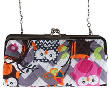 Cute Owl Chevron Quilted Kisslock Wallet Crossbody Bag Womens Teens Girls Clutch