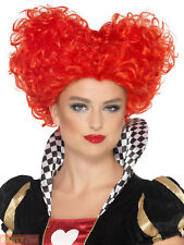 Ladies Queen of Hearts Red Curly Wig Adult Alice Fairytale Fancy Dress Accessory