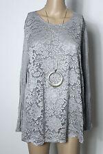 Shirt Gr. 42-44 silber-grau Baumwolle Spitzen Long Shirt/Langarmshirt NEU