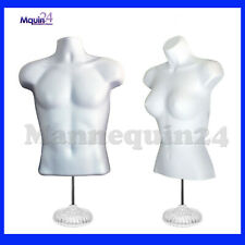 White Mannequin Male Amp Female Dress Forms With 2 Table Top Stands 2 Hangers